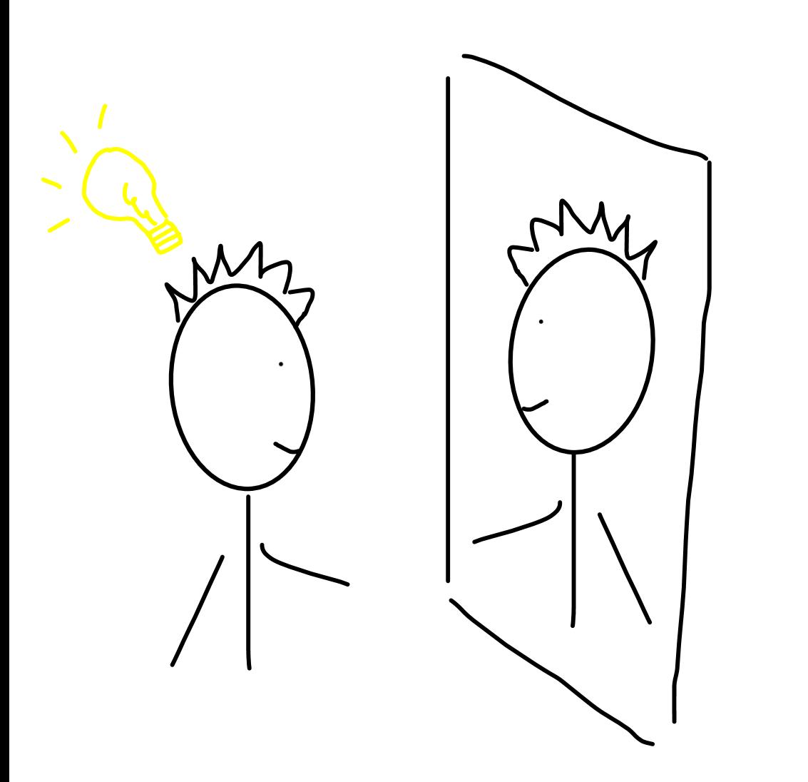Getekend Poppetje Die In De Spiegel Kijkt En Persoonlijk Leiderschap Neemt